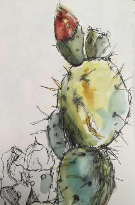 """Cactus II""  Ink and Watercolor"