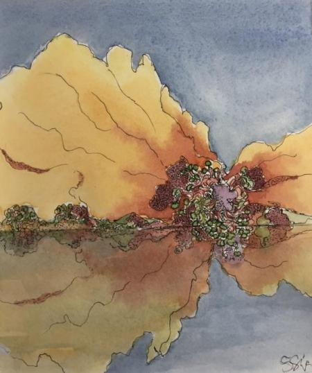 """Poppy Dreamscape"" Ink and Watercolor"