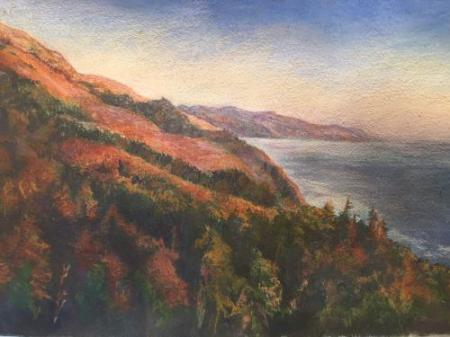 """From Nepenthe at Sunset"" Pastel on Paper"