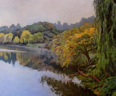 """North Shore, Lake Temescal"" Acrylic on Canvas"