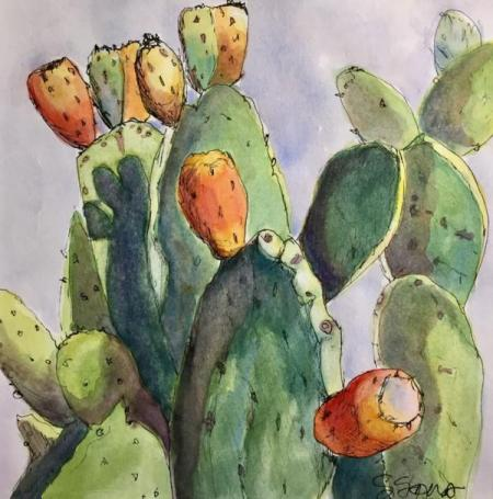 """Prickly Pear Study #1"" Ink and Watercolor"