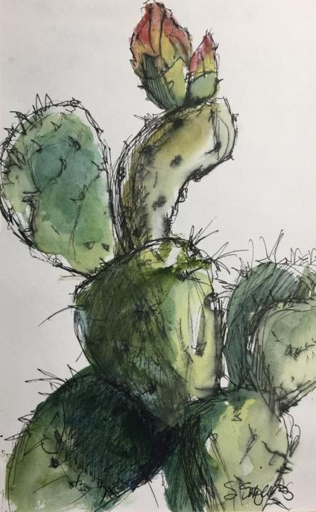 """Cactus in Bloom"" Ink and Watercolor"