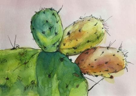 """Prickly Pear Study #2"" Ink and Watercolor"